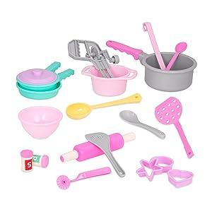 Play circle battat making dinner for eight cookware hand mixer pots pans ladle spatula storage bin