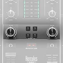 filter/fx, transición, combo filtro efecto, controladora de dj