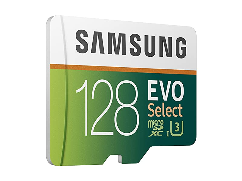 Angled shot of Samsung 128GB MicroSDXC EVO Select Memory Card