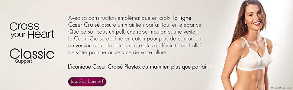 playtex; sous vetement; soutien gorge; maintien; coeur croise; avec armature; feminin;blanc;dentelle