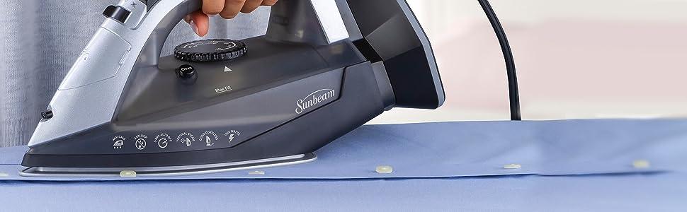 GCSBNC-200 Sunbeam Corded or Cordless 1500-Watt Anti-Drip Ceramic Hybrid Clothes Steam Iron with Vertical Seam and Auto-Off Function Grey