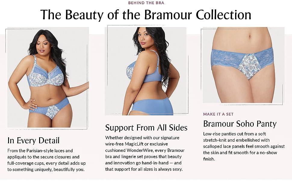 soho bramour luxury lingerie panty set wonderwire comfortable lace plus size