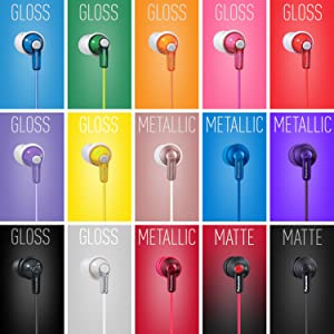 Panasonic RP-HJE120 earbuds 15 color options matte finish gloss finish metallic finish