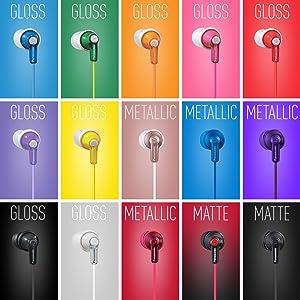 Panasonic RP-HJE120 earbuds 15 color options matte finish gloss finish metallic finish