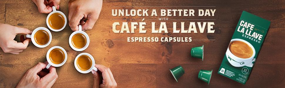 Espresso capsules, nespreso capsules, espresso, coffee, cuban coffee, cafe la llave
