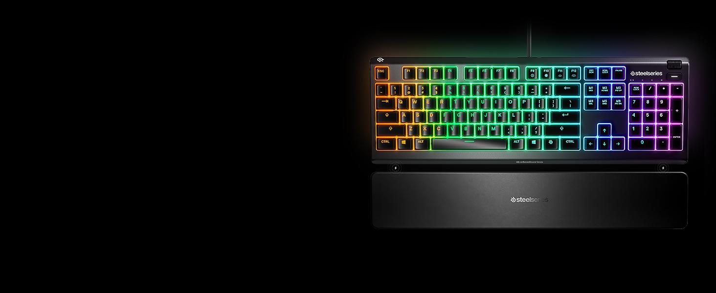 Steelseries Apex 3 Tastiera da Gaming RGB, Illuminazione RGB, Poggiapolsi Magnetico di Alta Qualità