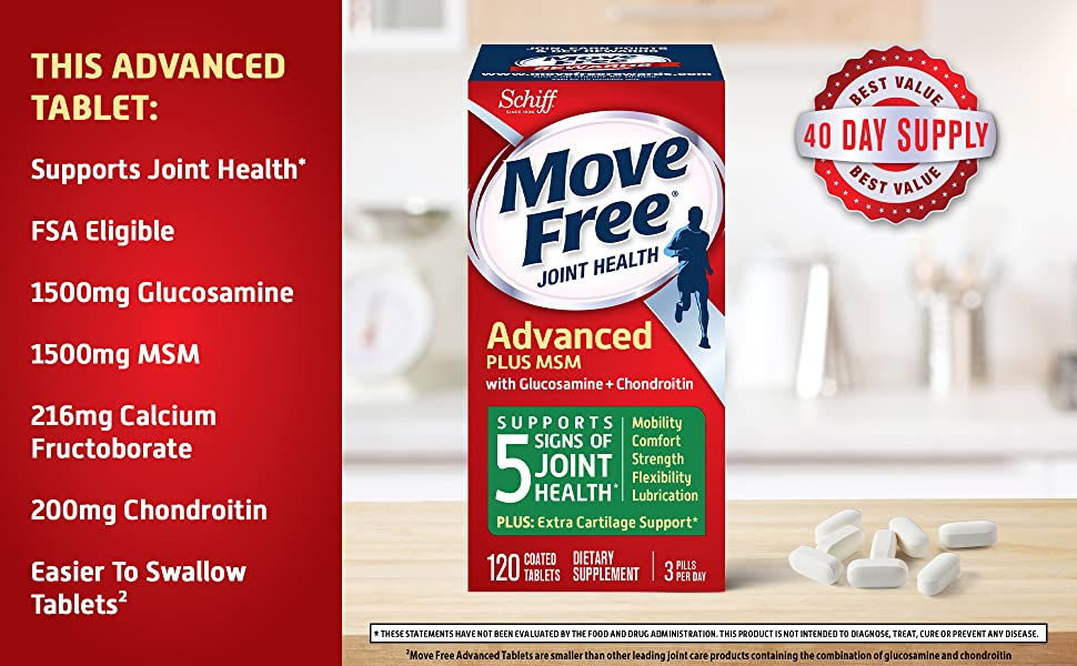 Move Free Advanced GC + MSM supports joint health, is FSA eligible and has easier to swallow tablets