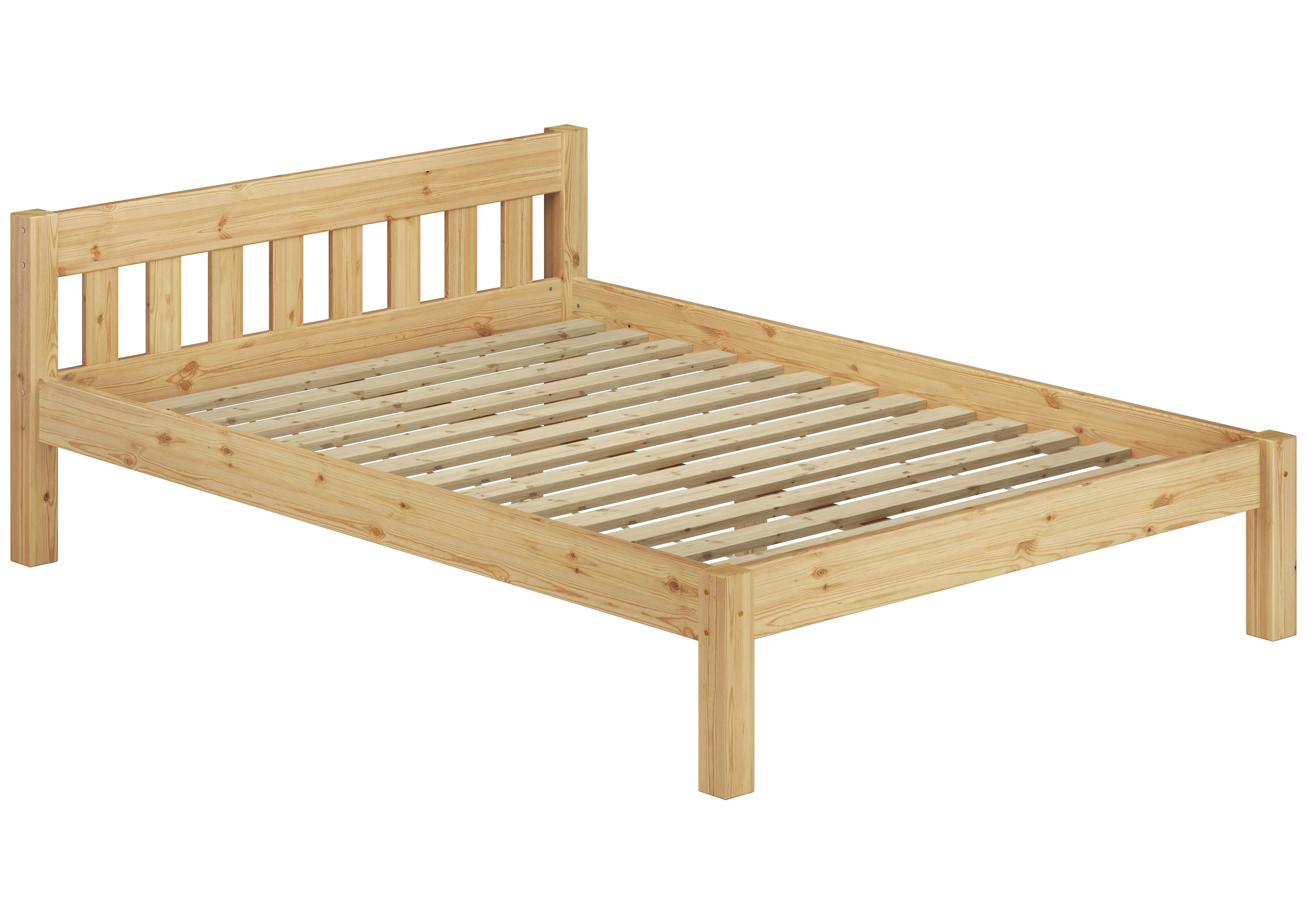 erst holz doppelbett mit rollrost 140x200 massivholz natur k che haushalt. Black Bedroom Furniture Sets. Home Design Ideas