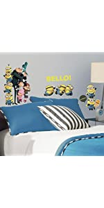 despicable me 2 peel and stick wall decals, peel and stick wall decals
