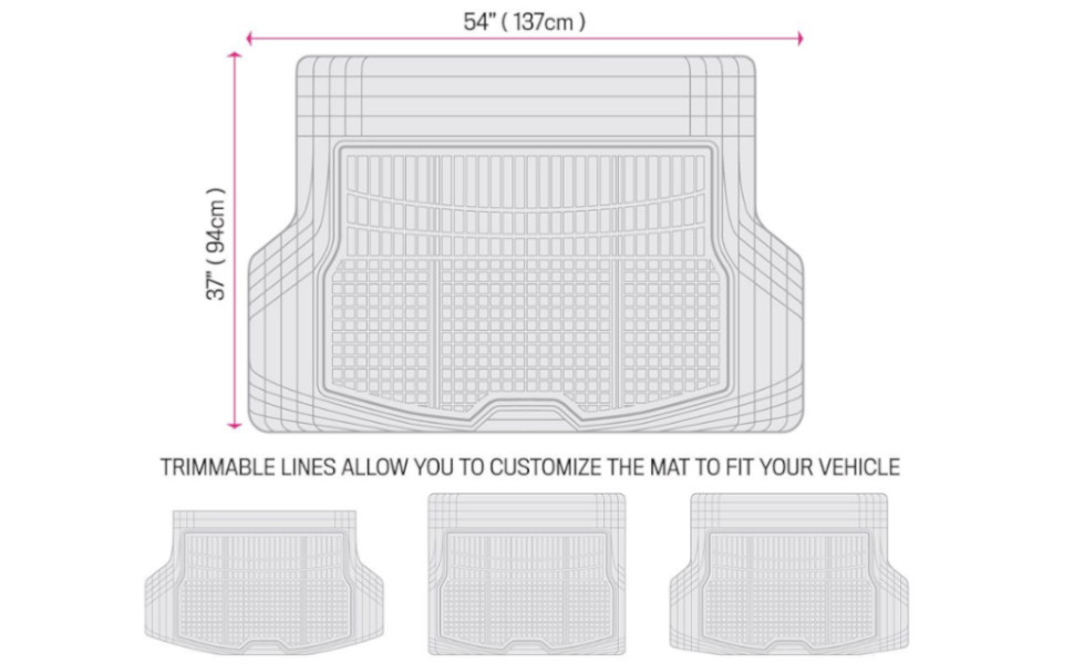 Max Beige Heavy Duty Trimmable Trunk Liner for Car Truck SUV Motor Trend Premium FlexTough All-Protection Cargo Mat Liner w//Traction Grips /& Fresh Design DB220-B2 Size: 54 L x 37 W