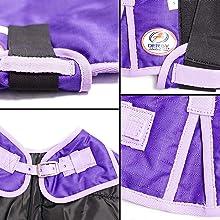 velcro shoulder gussets dog coat blanket purple