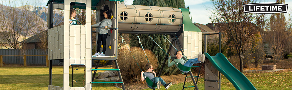 Lifetime metal playground equipment is constructed of steel, making it much stronger than wood
