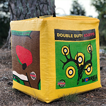 durable archery target, floating center, patented archery target, bag target, burlap material