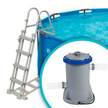 escalera piscina depuradora cloro