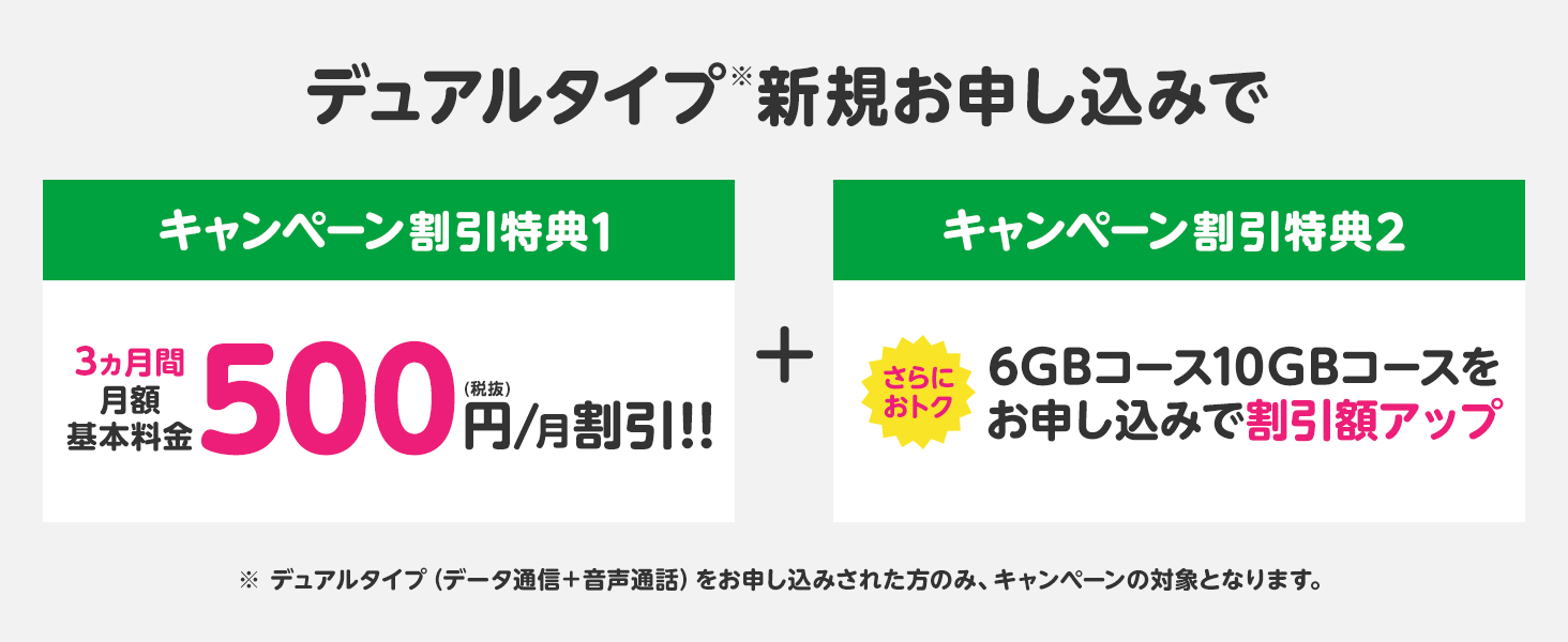 デュアルタイプ新規お申し込みで3ヶ月間月額基本料金500円割引き