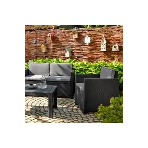 allibert 218757 lounge set victoria 2 sessel 1 sofa 1 tisch rattanoptik. Black Bedroom Furniture Sets. Home Design Ideas