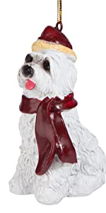 Christmas Ornaments - Xmas Maltese Holiday Dog Ornaments