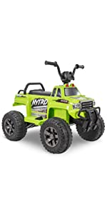 battery powered ride on, green ride on car, ride on quad, ride on ATV