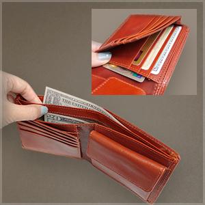 イタリアンレザー 二つ折財布