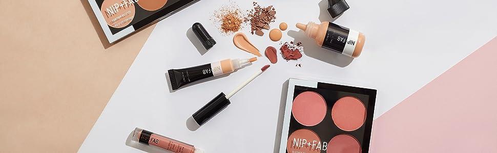 nip fab cosmetica make-up kleur hybride blush bronzer foundation concealer kegel hoogtepunt palet