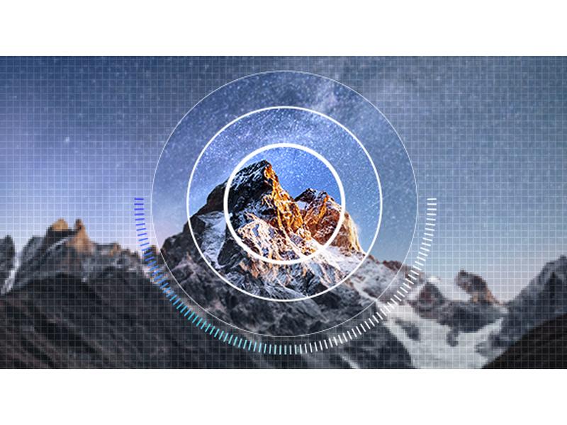 Mountain image showing AI Upscaling
