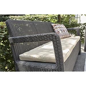 Keter - Sofá de jardín exterior de 3 plazas Tarifa con cojín incluido, Color marrón