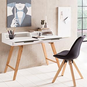 Schreibtisch MDF Arbeitstisch Bürotisch Echtholz Holz Massiv Schubladen PC  Tisch Design Laptoptisch