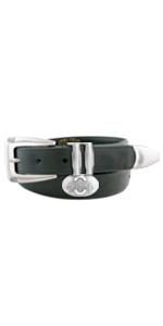 Mens black leather college concho belt