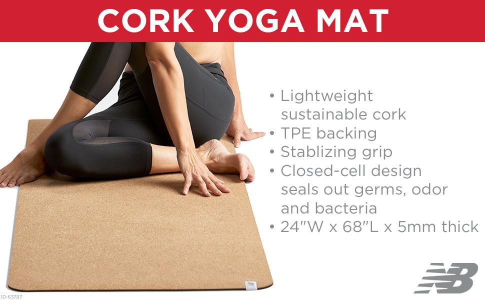 New Balance Cork Yoga Mat Non Slip Eco Friendly Yoga Mat Men & Women - Lightweight Sustainable Cork Mat Top & Non Toxic TPE Natural Rubber Yoga Mat ...
