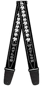 Waylon Jennings Country Rock Star Stitching Black White Guitar Strap Acoustic Electric