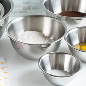 Metal mixing bowls; stainless steel mixing bowls; 6 sizes; nesting bowls; baking bowls