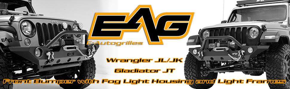 JK JL JT Front Winch Bumper with Fog Light Hole Fit 07-18 Jeep Wrangler Unlimited Sahara Gladiator
