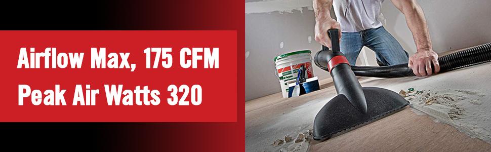 ShopVac - Man using vacuum to clean dust, airflow max 175 CFM, peak air watts 320