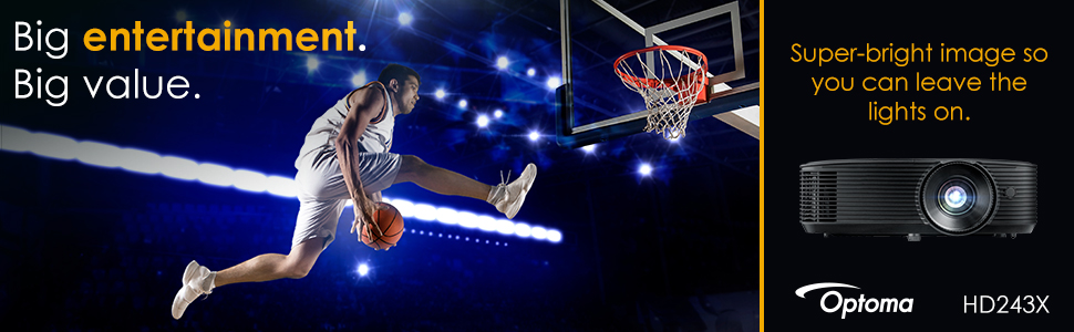 basketball player making a dunk showing big entertainment image with optoma hd243x projector