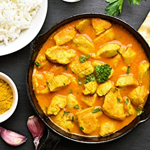 curry in a hurry, chicken, naan, turmeric, rice