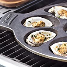 Cast iron oyster grill pan; oysters on the grill; cooks 12 oysters; half shell or shucked