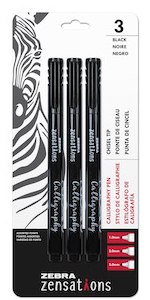 zebra calligraphy pen set, chisel tip calligraphy pens, includes 1.0mm, 2.0mm and 3.0mm point sizes