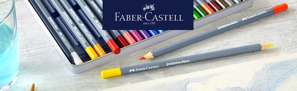 Estuche de metal con 12 ecol/ápices acuarelables hexagonales Goldfaber colores surtidos Faber-Castell 114712