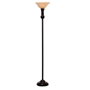 Catalina Lighting 18580-000 Transitional 3-Way Torchier Lamp with Frosted Amber Glass Shade, Bronze Classic