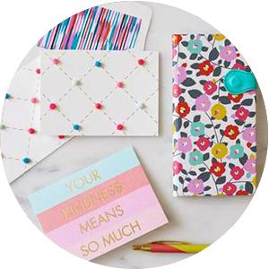 thank you cards, gift bags, wrapping paper, greeting cards