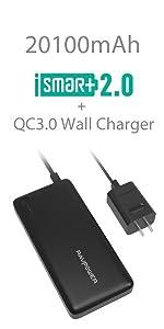 QC 3.0 20100mAh External Battery Charger + QC3.0 Wall Charger