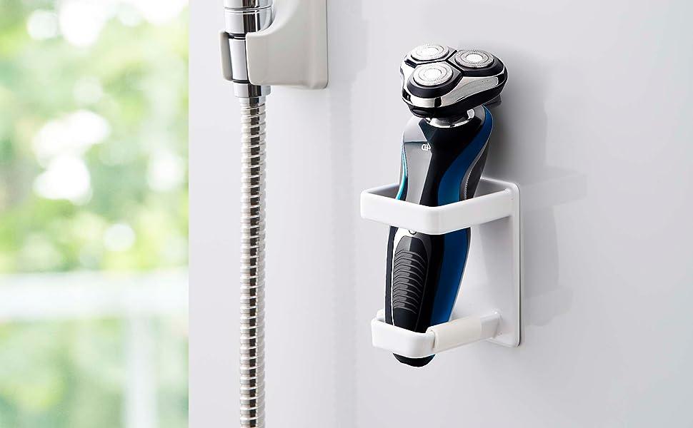 山崎実業 マグネット バスルーム 電動シェーバーホルダー タワー ホワイト 4863