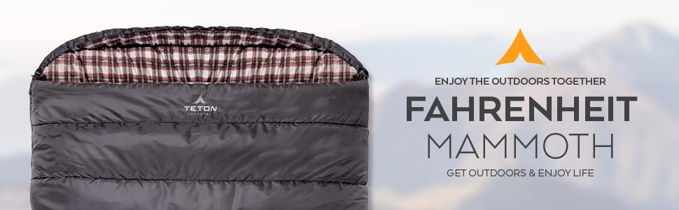 The TETON Sports Fahrenheit Mammoth Double Sleeping Bag is perfect for snuggling up together.