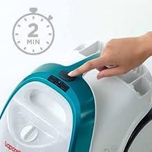 Snelle opwarmtijd, in slechts 2 minuten. Gebruiksklaar.
