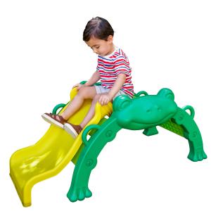 KidKraft Hop & Slide Frog Toddler Climber - Toddler on the slider