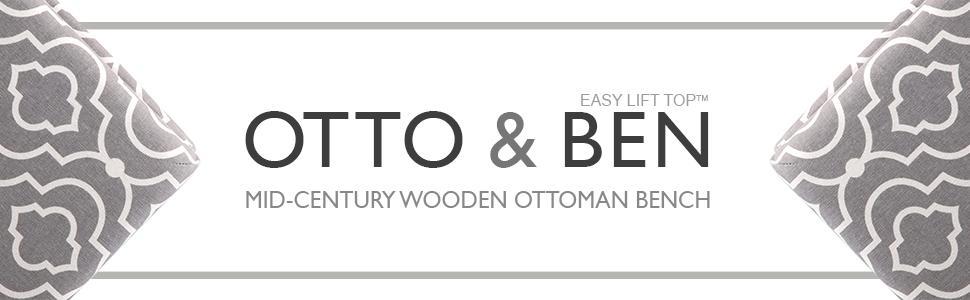 wooden leg / storage ottoman / mid century modern / ottoman bench / entryway bench / hallway bench
