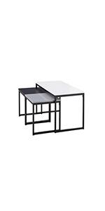 Square Lot de 3 tables Basses Gigognes Design Industriel Blanc Gris Noir