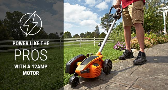 lawn edger, electric lawn edger, garden edger, lawn edging tool, grass edger, battery powered