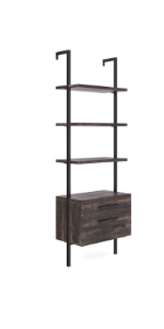 bookshelf bookcase book-shelves leaning-ladder wooden-storage space-saver 5-tier vintage 2-drawer