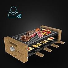 Raclette pour jusqu'à 8 personnes.